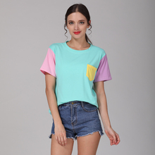 2017 Summer Style Fashion Women Harajuku Patchwork T Shirts Kawaii Casual Cotton Spell Color Patchwork De Mujer Free Shipping