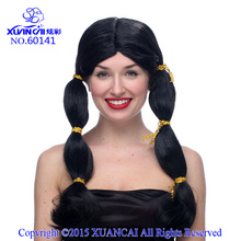 Free Shipping Hot Sale Cheap Synthetic Hair Wig Cosplay Costume Black Indian Girl Wig For Party(China)