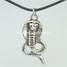 "Free shipping 16926 Silver Vintage Animal Snake Cobra Pendant 17"" Choker Collar Short Necklace 14298"