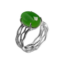 2016 Vintage Design Jade Rings 925 Sterling Silver Ring For Women Free Shipping