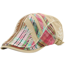Summer Checked Style Men Woven Berets Flat Caps Hats for Adult Mixed Color(China)