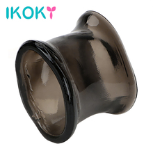 Buy IKOKY Delay Ejaculation Sex Toys Men Male Cock Ring Enlargement Penis Sleeve Chastity Cage Extender Silicone Penis Ring