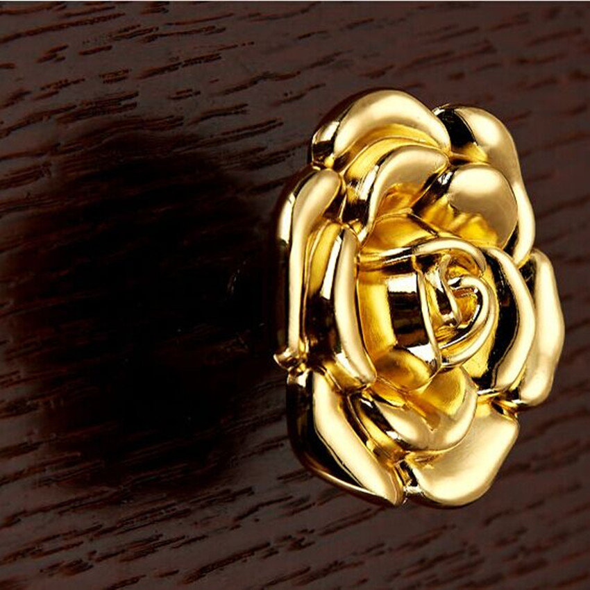 Modern Fashion deluxe creative gold flower furniture knobs 22k gold drawer cabinet dresser cupboard door pull handle with screw<br><br>Aliexpress