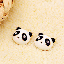 Cute panda bear earrings panda cartoon image stud earrings for women and girls free shipping