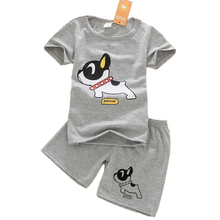 2017 New summer children clothing baby boy clothes short sleeve T-shirt+shorts 2-piece set O-neck dog pattern boys clothing set