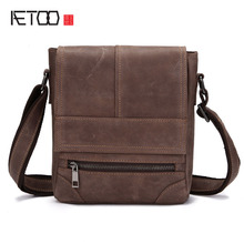 AETOO Shoulder bag male leather retro crazy horse purse casual oblique header layer of leather ipad messenger bag