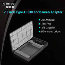 ORICO 2.5 Inch Semi-perspective HDD Enclosure Sata 3.0 to TYPE-C HDD Case Tool Free for 7/9.5mm 2.5 in HDD and SSD 2TB Support(China)