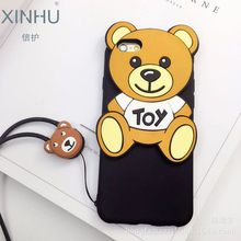 Teddy bear for apple iPhone 6s case Silicone soft shell Lanyard for iPhone 7 7plus 6 6s Protective shell Manufacturers wholesale