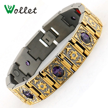 Wollet Jewelry Mens Big Crystal Bio Magnetic Titanium Bracelet Gold Filled Health Energy Germanium Negative Ion Infrared Bangle