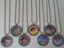 Set of 14 - Dora The Explorer Themed Bottle Caps - Choose Magnets, Zipper Pulls or Necklaces RB009(China)