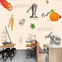 photo wallpaper 3D stereo European fresh personality vegetarian graffiti fast food restaurant background wall wallpaper mural