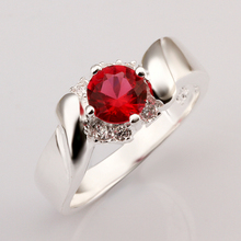 2016 New Top Quality Silver Plated & Stamped 925 wave line with big round red  stone  tag  ring for women wedding fine Jewelry