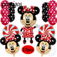 17pcs Minnie Mickey mouse head foil balloons red Bowknot wedding birthday party decoration 12inch latex candy globos supplies