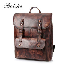 Brand Original Design Men Genuine Leather Backpack Vintage Male Handmade Brush Color Vegetable Tanned Leather Backpack 1002(China)