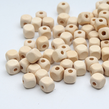 Natural Wood Beads 100pcs Square Spacer Wooden Beads for Jewelry Making DIY Baby Toys&Pacifier Clip