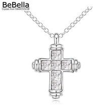 BeBella cross pendant necklace Made with Austrian crystals from Swarovski for 2017 women gift 6 colors