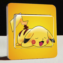 Free shipping Super Cute Pikachu Switch Stickers,3D Cartoon Pokemon Wall Stickers,For Children Room Decor Light Switch stickers