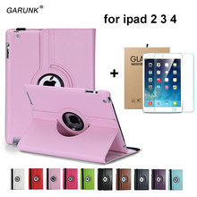 Case for Apple ipad 2 ipad 3 ipad 4 9.7 inch Tablet Case Rotating Leather Stand+Tempered Glass Screen Protection Film+Stylus Pen