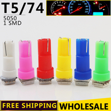 100pcs/lot Wholesale T5 74 5050 1 LED SMD Dashboard Lamp White Red Blue Yellow Green Pink Wedge Car Light Bulbs Free Shipping(China)