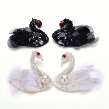 Sequins Beading Black Swan Patches Sewing On Sew-on Patches Applique Badge Garment Craft DIY Apparel Sewing Accessories 1 Pair(China)
