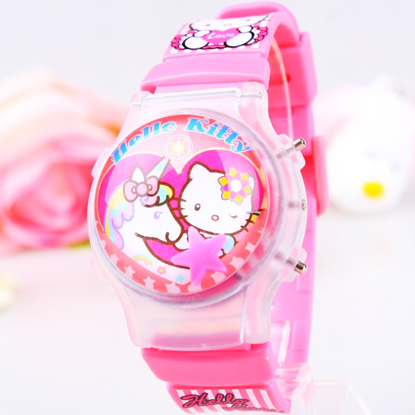 With light cartoon children Watches Gift child flip silica gel watches electronic Kitty Cat Watch For Girl Ladies Student Clocks<br><br>Aliexpress