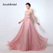 Beading Long Sleeves Evening Dresses Pink Chiffon Abendkleider 2017 Illusion Neckline Party Designs Prom Gowns Vestidos De Noche