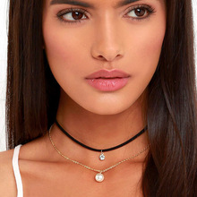 Women's Velvet Choker pearl jewelry Cheap gold chain pearl and white crystal pendant pearl necklace