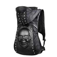 New 2016 Fashion Personality 3D skull leather backpack rivets skull backpack with Hood cap apparel bag cross bags hiphop man(China)