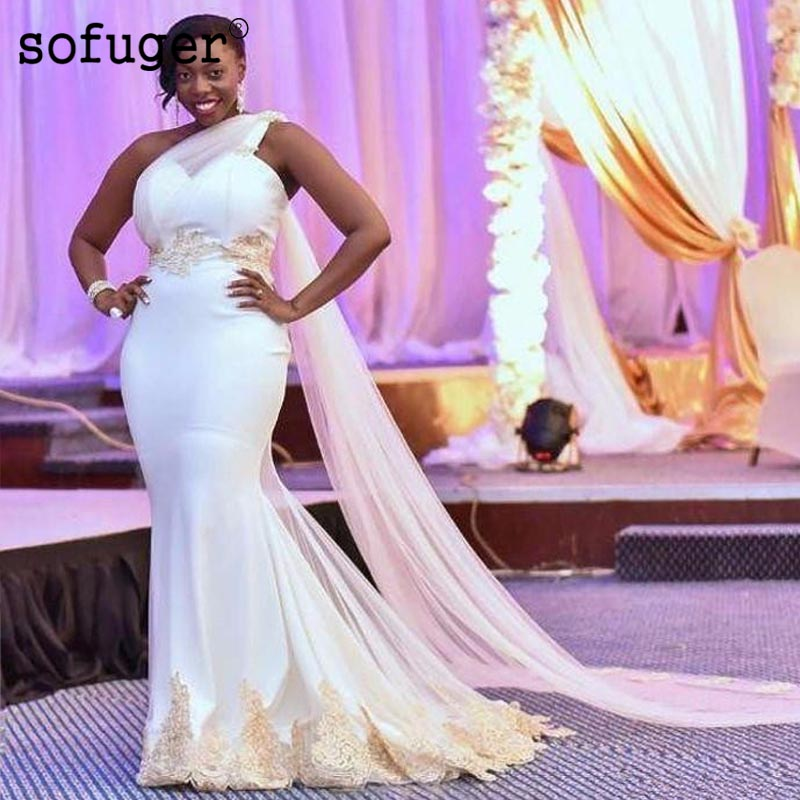 2019 Wedding Dresses Sexy South African One Shoulder Mermaid Bridal Gowns Satin Appliques