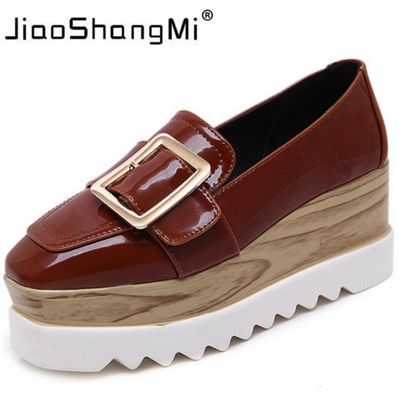 Brand Black Leather Flat Platform Shoes Woman Buckle Slip-On Oxford Shoes Women Sneakers Platform Autumn Winter Fashion Creepers<br>