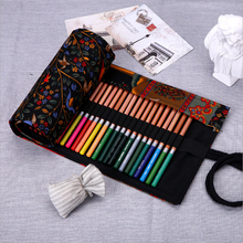 School Stationary Students Pencil Case Creative Nation Style Pencil Pouch Colored Roll Curtain Storage Canvas Pencil Bags