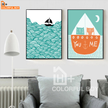 COLORFULBOY Cartoon Abstract Sea Landscape Love Quotes Canvas Painting Nordic Art Print Poster Wall Pictures For Kids Room Decor(China)