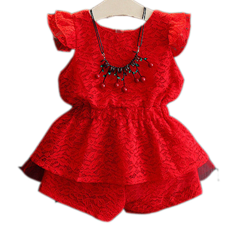 2-7 Years Toddler Girls Clothing Sets Newest High Quality Red Lace Cotton Sleeveless Top+Shorts 2PCS Girls Set Children Clothing<br><br>Aliexpress