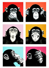 Andy warol monkey Wall Art painting print on canvas for home decor canvas paints on wall pictures art Unframed 6 Pieces/set