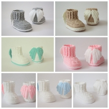 Crochet baby booties,Crochet baby shoes,Angel wings boots 7 colors photo prop,baby shower gift Handmade shoes size:9cm,10cm,11cm(China)