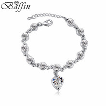 2016 Fashion Heart Pendants Charm Bracelets Crystals From Swarovski Elements Pulseras Women Bijoux Wedding Accessories