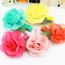 5 Pcs/lot Sweet Chiffon Fabric Flower Hair Clips Girls' Hairpin Kids Hair Accessories(China)