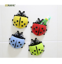 1PC Lovely Ladybug Toothbrush Wall Suction Bathroom Sets Cartoon Sucker Toothbrush Holder / Suction Hooks OK 0383