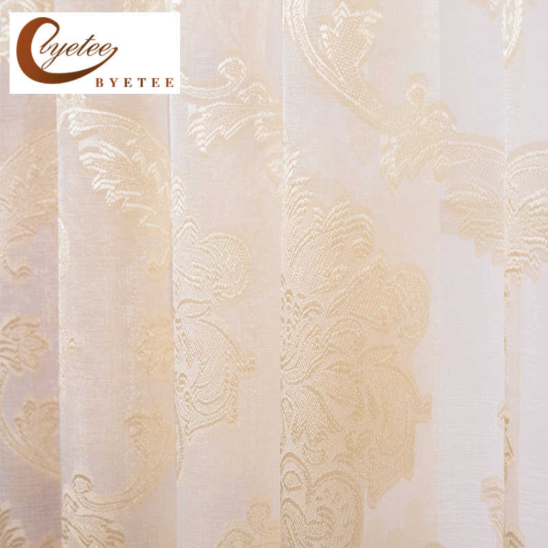 [byetee] Light Yellow Living Room Window Curtain Modern Sheer Tulle Organza Voile Curtains For Kitchen Window Gauze Drapes