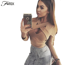 Women Fashion New Sexy Cross Hollow Out Long Sleeve Autumn T Shirt Elegant Casual Slim Nightclub Crop Top Cropped Tees Shirts(China)