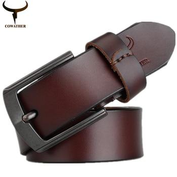COWATHER 2016 mens de la correa de cuero genuino de la vaca para los hombres de alta calidad del estilo de la vendimia 100-130 cm correa masculina ceinture homme envío gratis