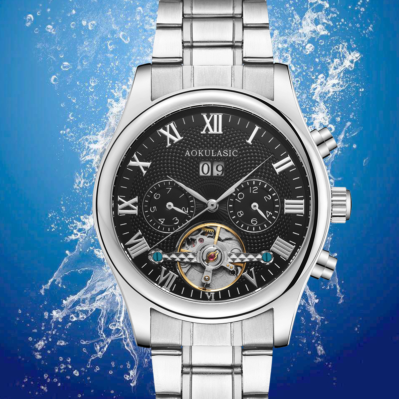 AOKULASIC New Fashion Luxury Tourbillon Automatic Machine Full Steel Mens Waterproof Watch black  AK8<br>