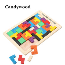 Kids Toys Wooden Tangram Jigsaw Board Puzzles Brain Teaser Puzzle Tetris Game Educational Baby Child Kid Toy(China)