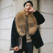 2017 Winter Men Imitation Fox Fur Collar Faux Fur Coats Male Casual Fake Mink Fur Outerwear Plus Size 3XL 4XL 5XL W1079