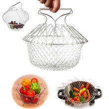 Magic Foldable Stainless Steel Fry Cooker French Potato Frying Baskets Mesh Steam Rinse Strainer Net For Cooking Kitchen Tool