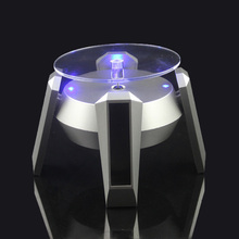 Solar Power Jewelry Watch silver Solar Rotating Display Stand Turn Table LED Light