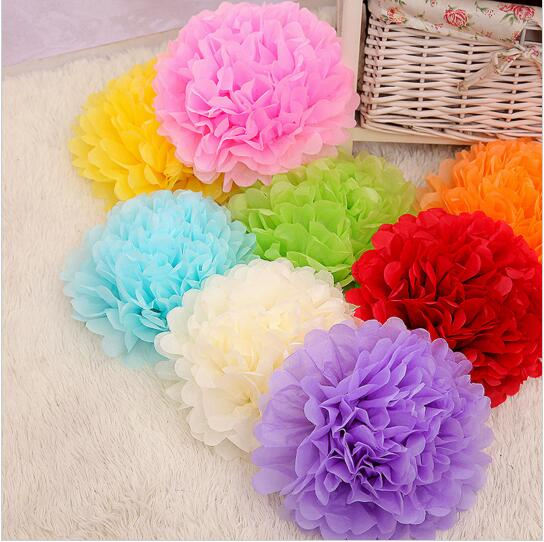 "30pcs 10"" 6"" 8""(25cm 15cm 20cm) Tissue Paper Pompoms Mix Color Flower Balls Wedding Pom Poms Wedding supplies Decoration(China (Mainland))"