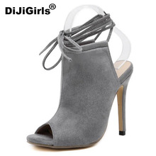 DiJiGirls Spring Streetwear Sexy Ankle Boots Sandals Women Slingback Lace Up Peep Toe Pump High Heel Stiletto Africa Spain Party