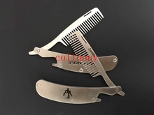 500pcs/lot Engraved Your Logo Anti Static Stainless Steel Folding Comb, Can Be Use As A Bottle Opener