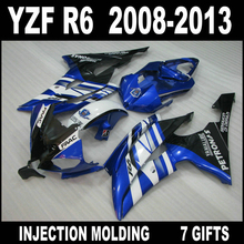 Free customize for 2008 2009 - 2013 white blue black YAMAHA R6 fairings 08 09 10 11 12 13 YZF R6 fairing kit GKH85+7 free gifts